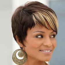 26cm Fashion Short Cut Straight Layered Synthetic Wig Black Full Hair For Women