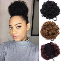 2pcs Hair Afro Bun Ponytail Kinky Curly Puff Drawstring as human Hair Extensions
