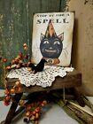 PRIMITIVE VINTAGE FOLK ART HOMESTEAD FALL HALLOWEEN BLACK CAT SPELL CANVAS SIGN