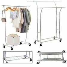 Industrie Metall Kleiderständer Stabil Garderobenständer 2 Kleiderstange +Rollen