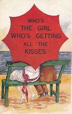 POSTCARD  COMIC   Girl   Kisses