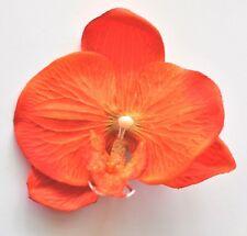 "4"" Bright Orange Orchid Silk Flower Hair Clip Luau Wedding Cruise Prom Party"