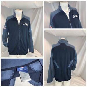 Seattle Seahawks Reebok Fleece Jacket S Men Blue Poly Stitched Mint YGI D0-350