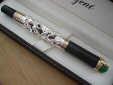 Somptueux stylo noir et argenté, plume or,Regent,Collector,Légende dragons,luxe