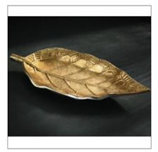 Tray Decorative Aluminum Embossed Gilded Leaf Plate
