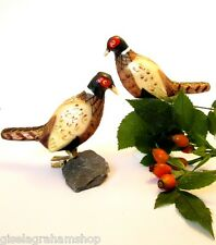 SET of 2 Christmas Glass Pheasants birds clip tree ornaments decoration bauble