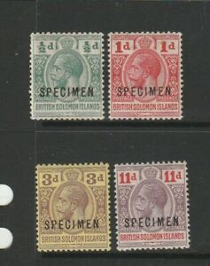 British Solomon Islands 1913 Postage Postage set of 4, optd SPECIMEN MM SG 18s/2