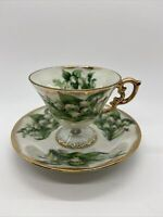 Ucago Ceramics May Lily of the Valley Luster Ware Footed Cup and Saucer