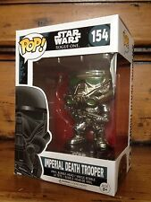 FUNKO POP! STAR WARS EXC Chrome Imperial morte TROOPER # 154 esclusiva Figura Nuovo