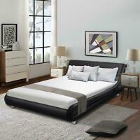 Full Size Black Platform Bed Frame With Modern Adjustable Headboard Wood Slats