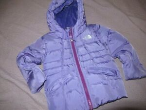 euc The North Face purple hooded down filled jacket girls 3T  free ship USA