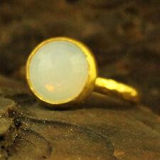 Handmade Hammered Designer Cabachon Opalite Ring 24K Gold Over Sterling Silver