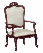 Melody Jane Dolls House Fancy Victorian Mahogany White Armchair Lounge Furniture