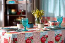 """Pioneer Woman Patchwork Tablecloth 52"""" x 70"""" Multi-Color Floral Geometric Retro"""