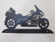 GOLD WING TRIKE MOTORCYCLE STEEL WALL HANGING TEXTURED BLACK POWDER COAT FINISH