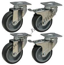 75mm in gomma girevole CASTOR ruote con freno Furniture CASTER HEAVY DUTY SET