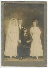 VINTAGE WEDDING PARTY PHOTO, GROOM, BRIDE, BEST MAN, MAID OF HONOR, STUDIO