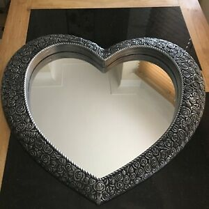 Vintage Silver Heart Wall Mirror Antique Style Silver Heart Mirror Engraved Rose
