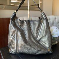 Marc by Marc Jacobs Large Hobo Bag Metallic Gray Leather Shoulder Bag