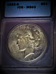 1922-S Peace Dollar ICG  MS63, Tougher Date, Gold/Blue irradiance, Issue Free!!