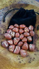 Rune Stones - RED JASPER Crystal Divination Runes with Plush Pouch FREE UK POST