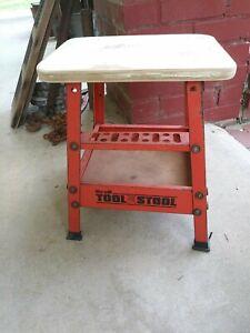 VINTAGE HIRSH GARAGE Tool STOOL INDUSTRIAL DECOR/PLANT STAND painted metal