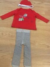 Next Size 3-6 Months Baby Girls Red Christmas Top, Tights & Hat - New