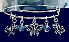 Butterfly 3 Beautiful Charms & Rainbow Beads Silver Expandable Bangle Bracelet