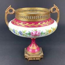 19th Century Sevres Chateau de Longpre France Floral Rose Gilt Bronze Urn Vase