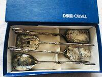 VIntage DAVID ORGELL Silverplate Renaissance Tong Serving Set in Box 4 pcs