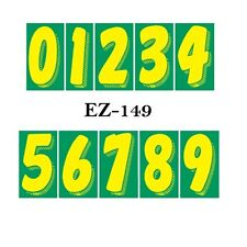 "Car Dealer Window Stickers 7 1/2"", Numbers Green n Yellow 10 Packs Free Shipping"