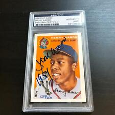 """1954 Topps Hank Aaron Signed Inscribed """"1954"""" Rookie RP Baseball Card PSA DNA"""
