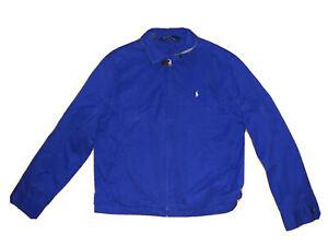 Vintage Polo Ralph Lauren Logo Harrington Full Zip Jacket Rare Blue Men's LARGE