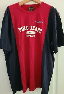 "Ralph Lauren Polo Jeans Company Men's XXL T-shirt Red/Blue 29""pit  31"" Length"