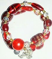 Memory Wire Bracelet with Red Glass Beads  Charms on ends FREE SHIPPING