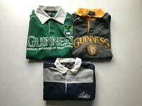 Guinness Men's Large Green/White, Gray/Yellow, Blue/Gray Rugby Polo Lot of 3 EUC