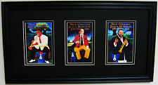"GEORGE RODRIGUE NEW ORLEANS JAZZ FEST POSTER CARD TRIO-MATTED & FRAMED-22"" x 12"""