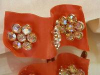 Beautiful Set Of 3 Vintage 1950's Aurora Rhinestone Buttons  2106o