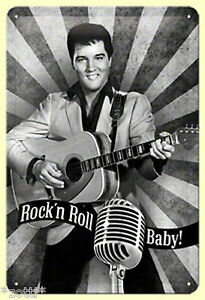 Nostalgic Art Elvis Aaron Presley Jupe ´N Rouler The King Guitare 20 x 30 Signe