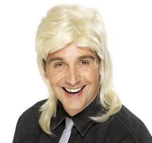 80s 1980s 80's 1980's Mullet Wig Fancy Dress Blonde wig by Smiffys