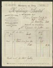 """THIERS (63) MERCERIE / LAINES / BONNETERIE """"J. MALALEUGE & BARDEL"""" 1921"""
