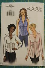 Vogue Pattern #7639 Size 6,8,10 Misses' Blouse Close-fitting top 3 diff length