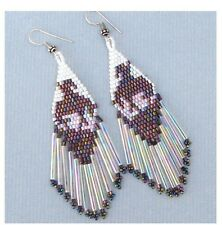 NEW WOMEN BROWN WHITE BEADS END OF TRAIL DELICA LONG DROP/DANGLE EARRINGS