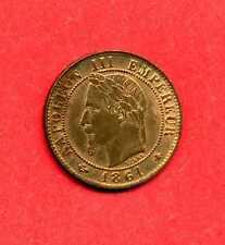 (BR.13) 1 CENTIME NAPOLÉON III TÊTE LAURÉE  1861 A (SPL à FDC)