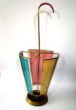 French Mid-Century Matégot Style Brass Umbrella Stand Schirmständer 1950´s