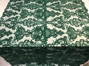 Green Beaded Mesh Lace Fabric By The Yard Bridal LACE/ Geometric Lace/ Veil/