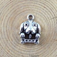 30pcs Vintage Silver Alloy Dog Head Charms Pendant Crafts Jewelry Findings 51261