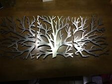 Wall ornament Triptych Tree metal decor unique sculpture steel shadow wall art