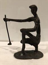 Vintage Bronze Metal Art Sculpture Statue Figurine Male Golfer Putter 6.25