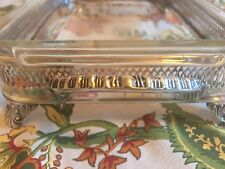 Vintage Anchor Hocking Fire King Ovenware Dish With Silver Plated  #431 2 QT